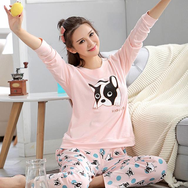 Nueva Llegada Del Otoño Invierno Para Mujer Pijama O-cuello de Manga Larga de Dibujos Animados Mujeres ropa de Dormir Pijamas Niñas Mujer Pijama Femme M-2XL