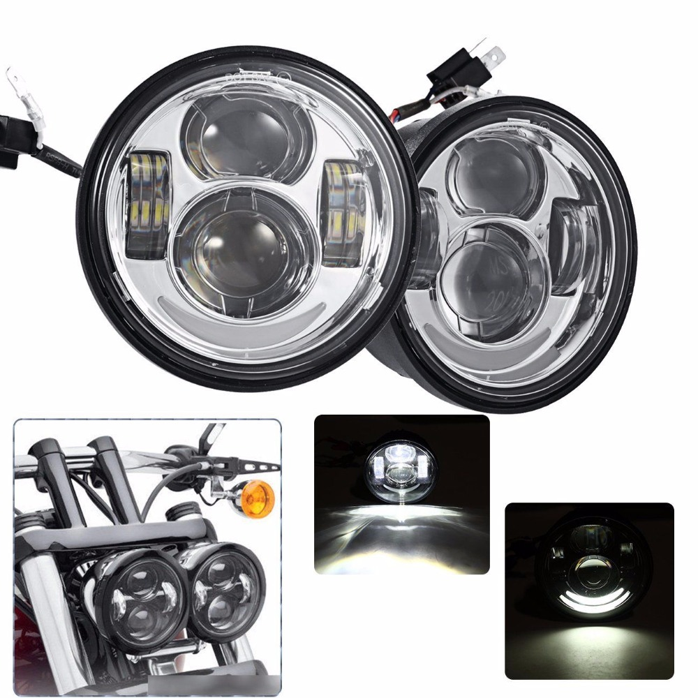 "2x 4.65 "" Motocycle LED Moto Headlamp For Harley Davidson Fat Bob FXDF 08 16 - title="