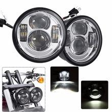 "2x 4.65 "" Motocycle LED Moto Headlamp For Harley motorcycle Fat Bob FXDF 08 16"