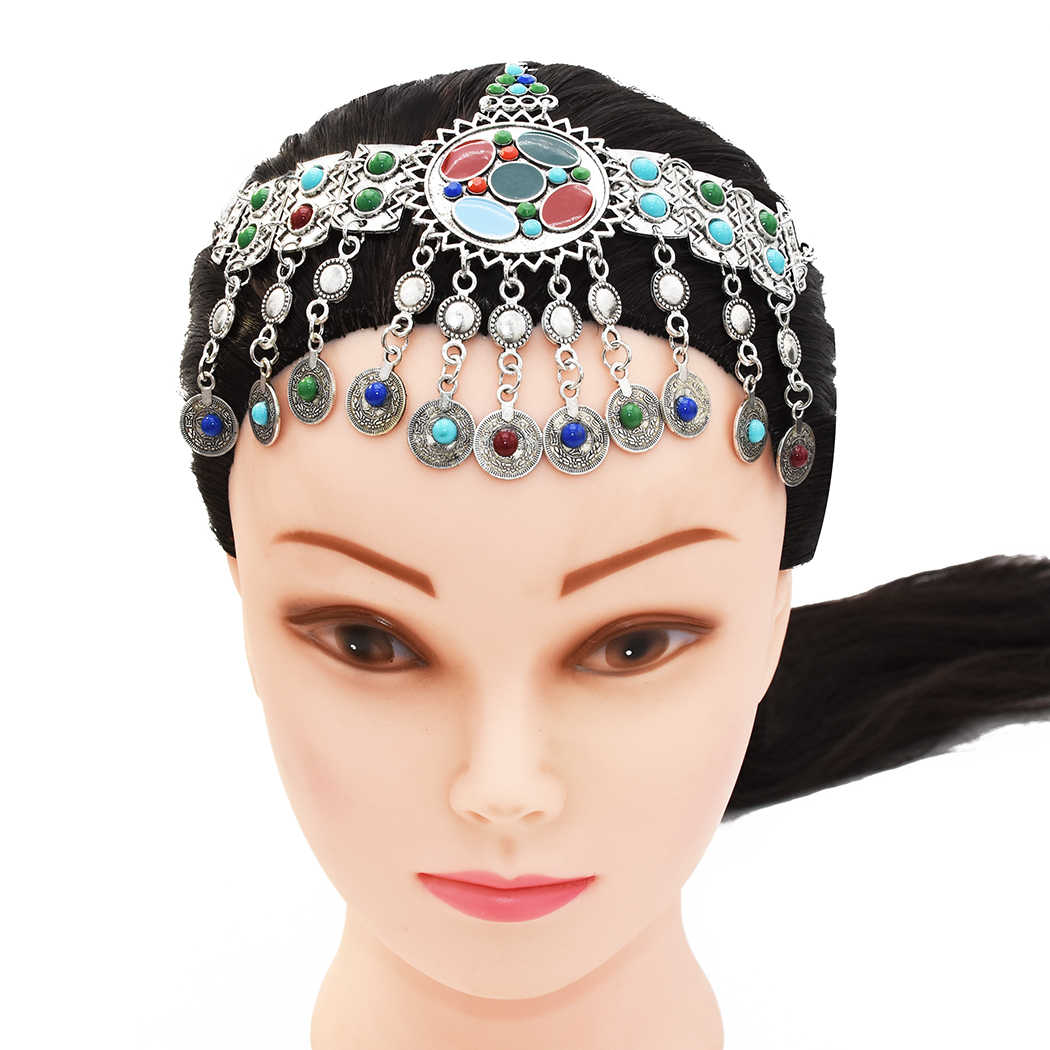 Gypsy Head Chains Jhumka Earring Sets Indian Belly Dance Silver Coin Beaded Statement Ethnic Jewelry Afghan Turkish Tribal
