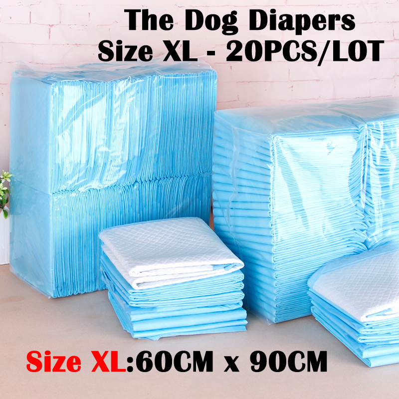Dog Diapers Size Xl(60cmx90cm) 20 Pieces Dog Cleaning Supplies Thickening Absorbent Disposable Diapers Dogs Antibiotic Diapers