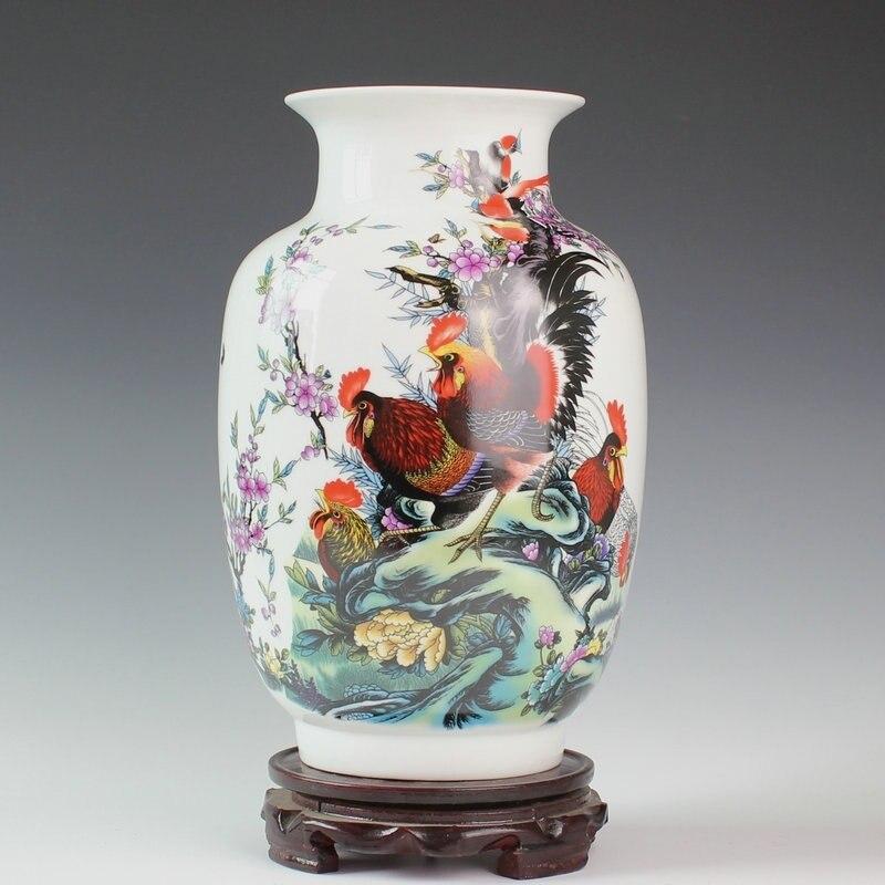 Jingdezhen ceramic famille rose porcelain vase Wax gourd bottle rooster figure decorative furnishing articles