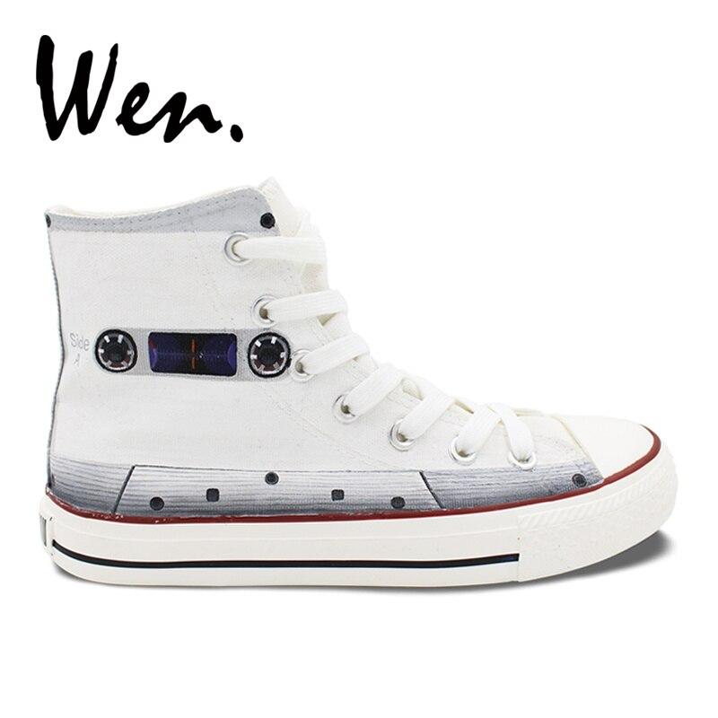 Wen blanc chaussures skateboard peint à la main chaussures Design personnalisé bande hommes femmes haut toile baskets cadeaux de noël