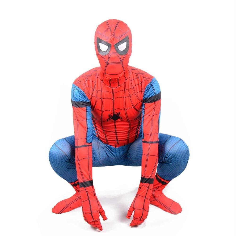 Spiderman Homecoming Costume for Kids Teen Boys New Spider-Man Cosplay Full Body Zentai Suit Children Superhero Fancy Dress