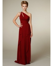 Langer Abschlussball Kleidet Freies Verschiffen Bodenlangen Chiffon Kleid Kleid Elegante Frauen Abend Formale Sleeveless Drapierter One-shoulderf1961