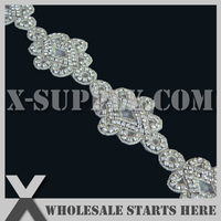 Free Shipping Crystal Rhinestone Applique Beaded Trim for Home Decor, Ice Skating