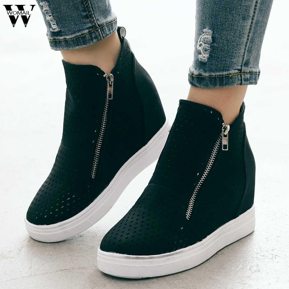 2019 แฟชั่นแพลตฟอร์มรองเท้าสำหรับสตรี Sole Hollow ฤดูใบไม้ร่วง Zipper ข้อเท้ารอบนิ้วเท้าแบนรองเท้ารองเท้าขายร้อน