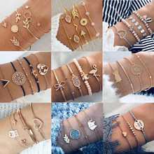 30 Style Boho Bird Turtle Map Heart Leaf Arrow Bracelets Shell Bead Palm Gem Chain Bracelet Set Exquisite Female Jewelry Gift(China)