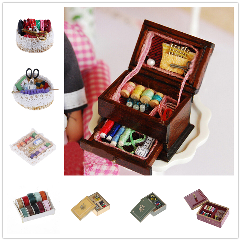 Venda quente 1:12 vintage costura needlework agulha kit caixa de máquina de costura dollhouse decoração em miniatura