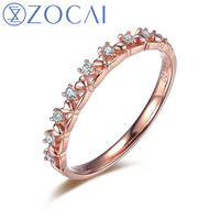 ZOCAI Brand Wedding Ring Princess Natural 0.10 CT Diamond Ring with Real 18K Rose Gold (Au750) W06201