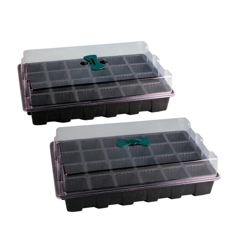 Ev ve Bahçe'ten Bakım Tepsileri ve Kapakları'de 3 adet/takım Siyah Plastik Fide Kutusu Nem Klonlama Tepsisi Yayılımı/Kubbe Bitkiler Tohumları 24 Hücre Küpleri Set title=