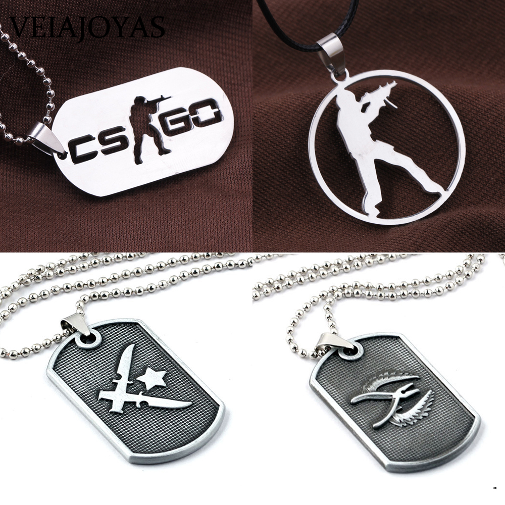 Game <font><b>CS</b></font> GO Stainless Steel Necklace CSGO Counter Strike Dog Tag Pendant Necklaces Car <font><b>Keychains</b></font> Collier Men Jewelry Accessories image