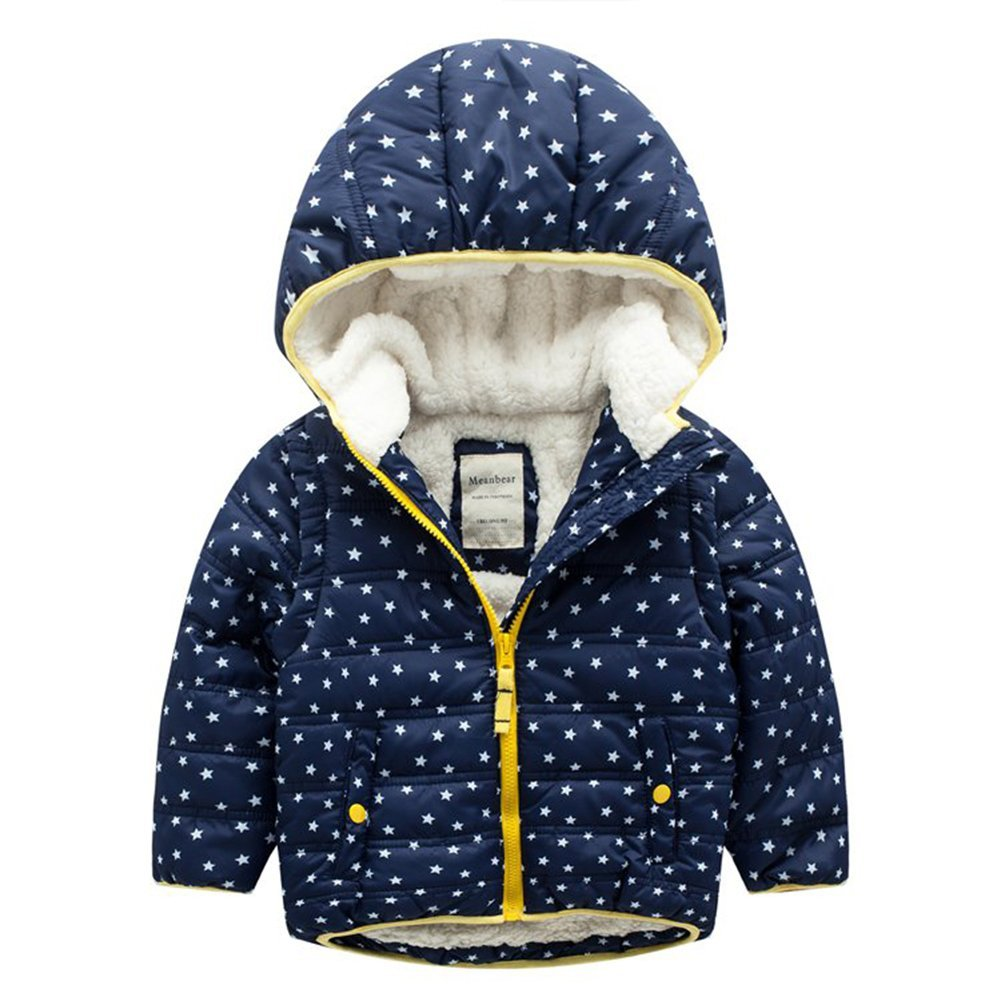 3-7Y Cute Stars Winter Children Coat Parka Hooded Kids Jacket Boys Girls Outerwear Coats Boy Windbreaker Baby Clothes Clothing
