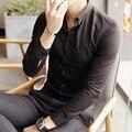 Мужская Рубашка Сплошной Цвет Полосатый Тонкий С Длинным Рукавом Большой Размер мужская Мода Англия Стиль Бизнес Рубашка Черный белый M ~ 5XL