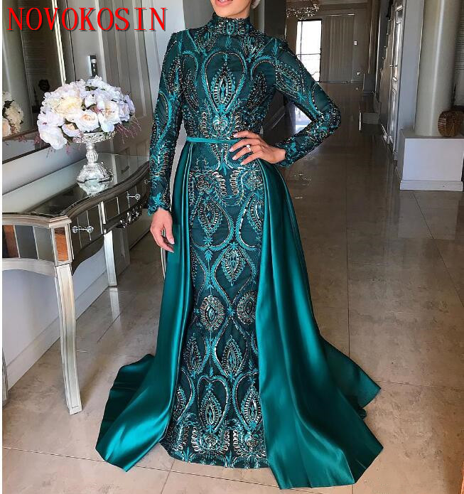 2019 Satin Long Sleeves Mermaid Muslim Evening Dresses With Detachable Train Beading Crystal Moroccan Arabic Formal Party Gown