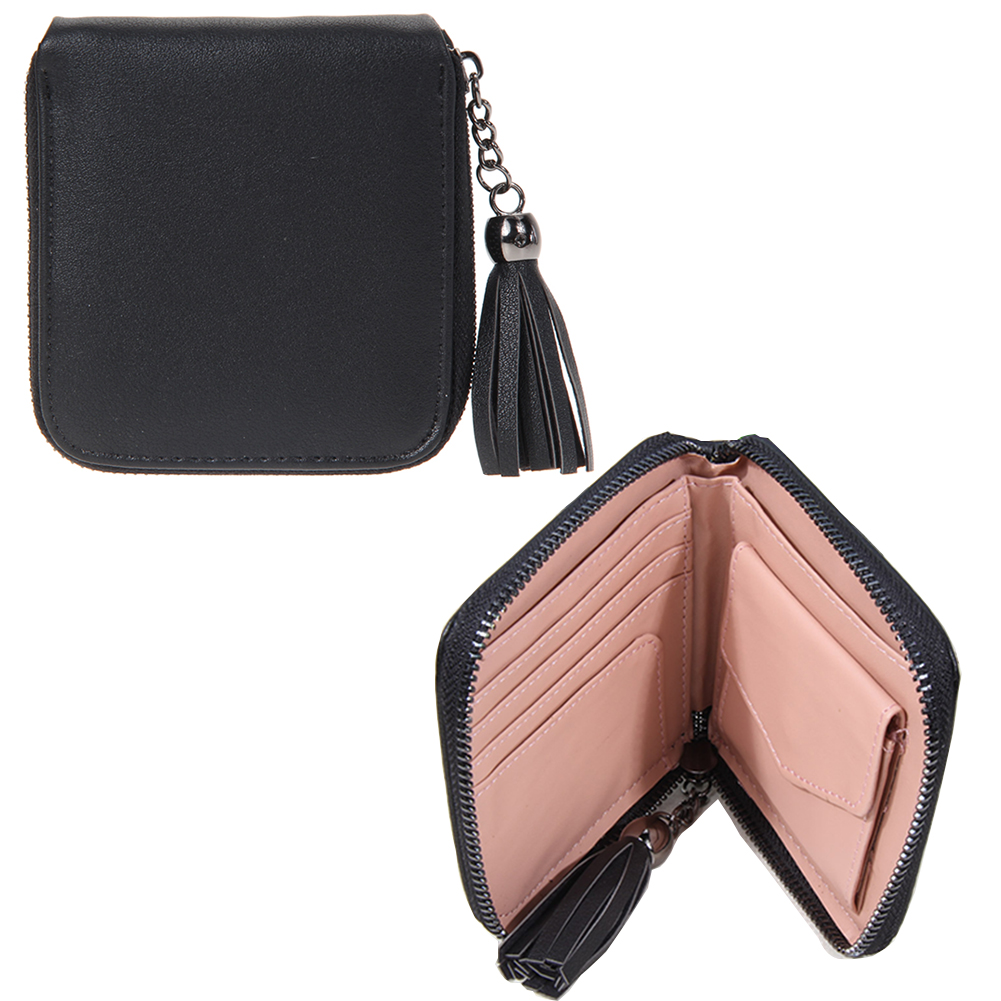 2017 High quality Brand Coin Wallet Women Short PU Leather Wallet Women Tassel Zipper Luxury Purse portefeuille femme carteira moana maui high quality pu short wallet purse with button