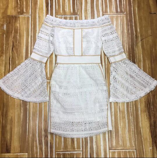 Club Slash Celebrity Cou Mini Moulante Fête Sexy Robe Femmes De Dentelle Flare Long L'épaule Blanc Night Manches Outre 7zgqP
