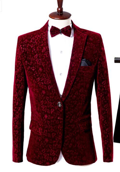Free Ship Mens Wine Red European Flower Pattern Suit Tuxedo Jacket/stage Performance/stuido Jacket With Bowtie