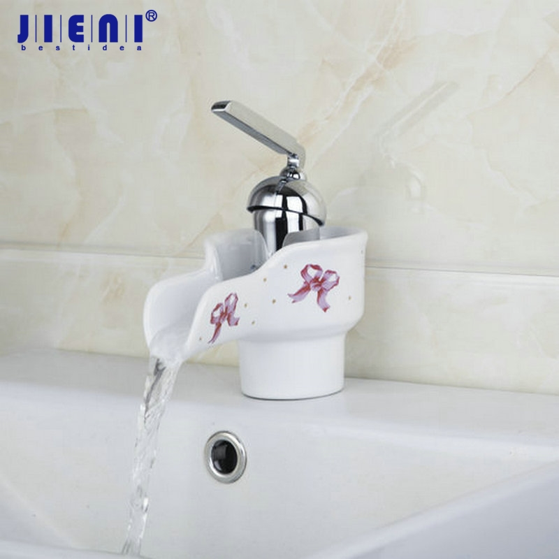 White Waterfall Faucet Ceramic Finish Bathroom Basin Sink Faucet Hot & Cold Mixer Deck Mounted Tap коврик в багажник hyundai solaris hb