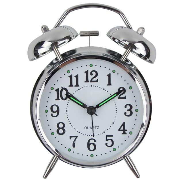 2017 Hot SellingTable Alarm Clock Modern Design lMetal Desk Clock Quartz Luminova Wake Up Light Despertador Reloj Madera