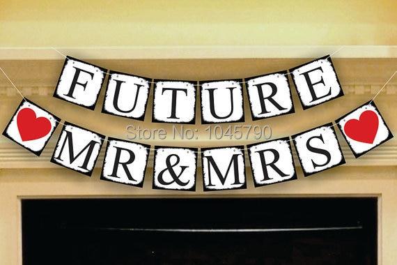 1 X FUTURE MR& MRS Свадебные баннеры для свадебной вечеринки украшения