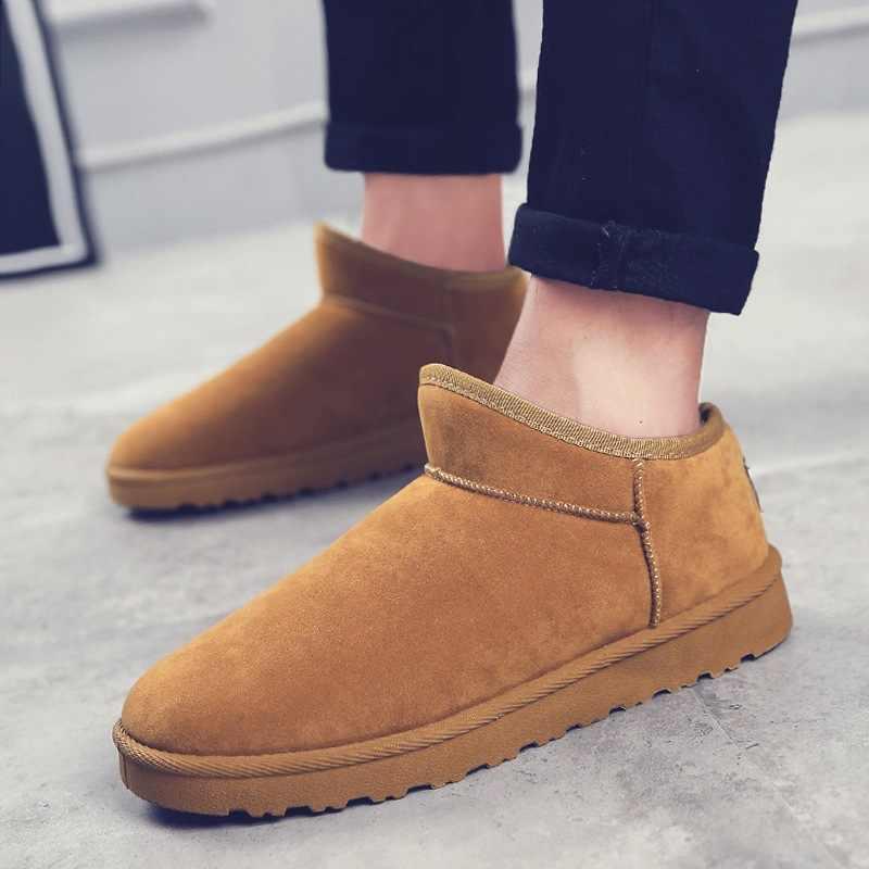 e61adfb9 Nuevo estilo Suede cuero piel natural forrado hombres invierno nieve botas  con corto tobillo zapatos de
