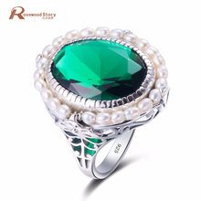 Фотография 2017 Fashion 100% Natural Freshwater Pearl Rings Solid 925 Wide Silver Vintage Oval Cut Green Emerald Ring For Women Best Gift