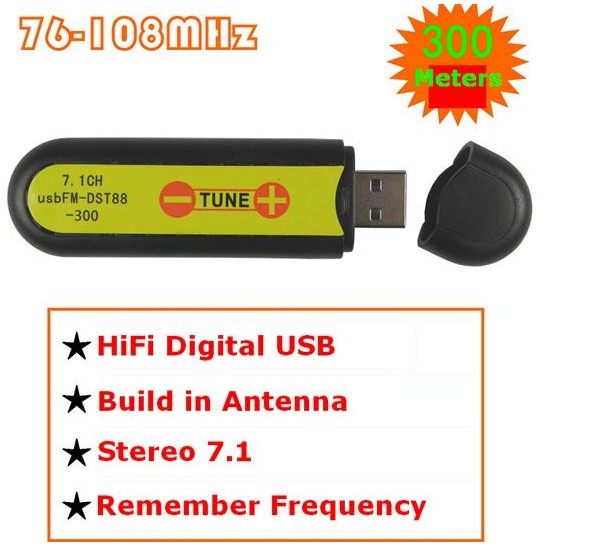 USB FM-DST88-300 oddajnik brezžična zvočna kartica stereo 7.1 kanalni 76-108mHz / 100meters