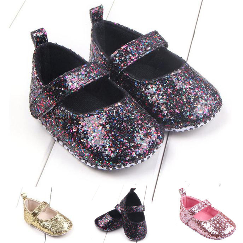 Newborn Baby Girls Bling Sequins Crib Shoes Fashion Infant Solid First Walkers Soft Bottom Anti-Slip Toddler Shoe 0-18 Month A20