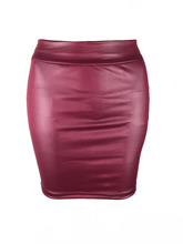 Europe and America women Skirts Matte High Waist Bag Hip Skin PU Leather Skirt Wholesale BH003 cheap Liva girl Casual Solid Pencil NONE Above Knee Mini Natural China (Mainland) Collage splicing Blue-green imitation leather short skirt