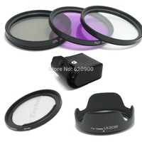 67mm Lens UV CPL FLD Filter Kit For Canon DSLR SX40 SX50 Adapter Ring +LH DC60 Lens Hood+CASE Free Shipping