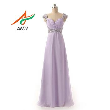 ANTI Plus Size Pink Prom Dresses Long V-Neck Chiffon A-line Robe De Soiree 2019 Lavender 16 Colors Formal Party Gowns for Women