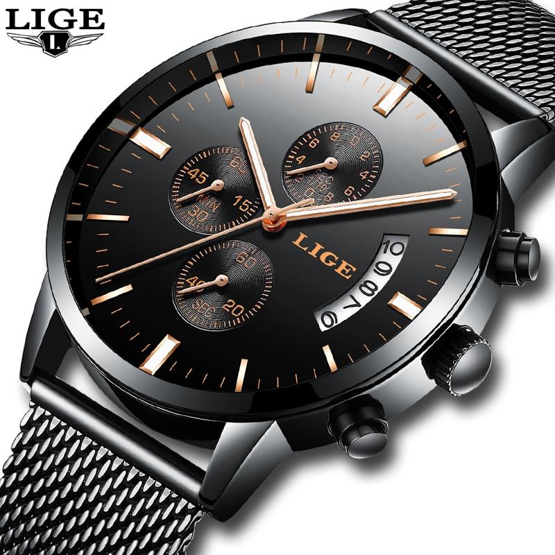 LIGE Fashion Mens Watches Top Brand Luxury Quartz Watch Men Steel Mesh Strap Business Waterproof Sport Watch Relogio Masculino цена