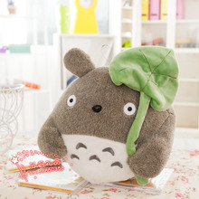 new plush lovely totoro toy stuffed high quality totoro with leave doll gift about 35cm 441