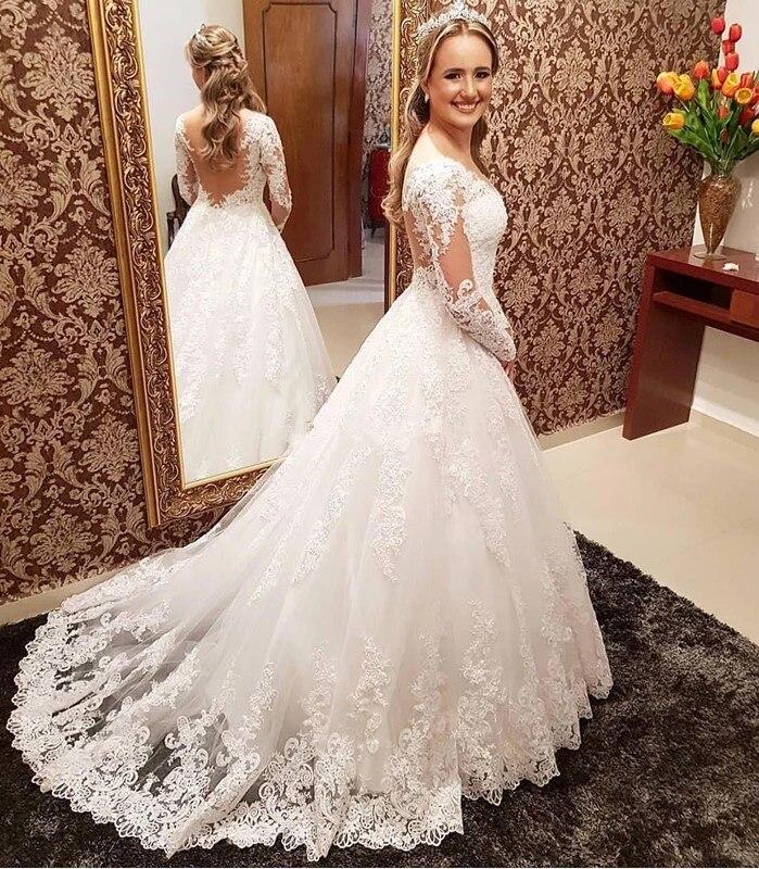 Fait sur mesure A-ligne à manches longues Tulle Dentelle Perles Vintage Sexy robes de mariée formelles De Mariage Robes 2019 nouvelle mode XL12