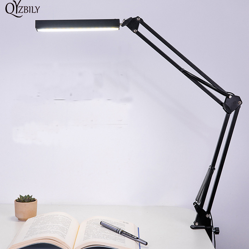 CONDUZIU a Lâmpada de Mesa Abajur Desk Lamp Clipe Escritório 3-Nível de Leitura Flexível Levou Luz Brilho Abajur Parágrafo Quarto Luminaria de Mesa
