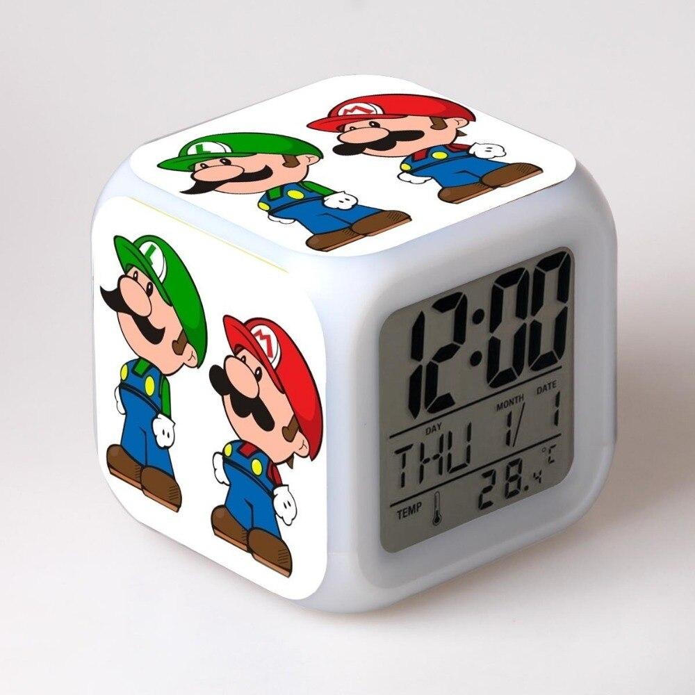 Super Mario Bro Night Clock Desk LED Digital Lamp Laptop Anime Action Figures luigi Clock Kids Toys wario waluigi 6pcs set super mario bros mario luigi peach yoshi king kong toad action figure pvc toys 4 6cm kids gifts