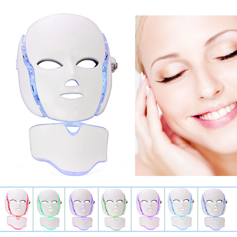 1pc Home Use 7 Light Colors LED Photon Anti-aging Facial Mask PDT Skin Rejuvenation Wrinkle Removal Acne Therapy Beauty Tool portable home use led photon blue green yellow red light therapy beauty device for face and body skin rejuvenation firming