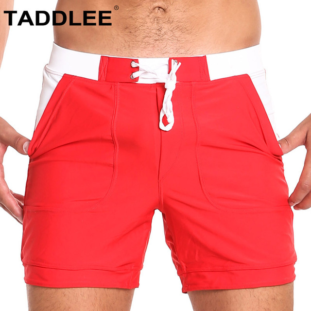 Taddlee Brand Sexy Swimwear Men Swimsuits Swimming Boxer Briefs Bikini Solid Basic Long Surfing Board Shorts Trunks Quick Dry