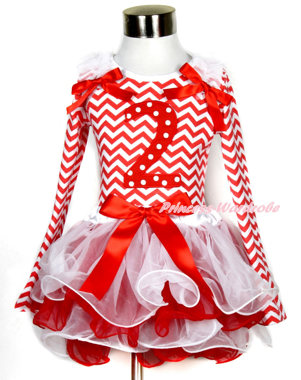 Xmas White Red Petal Pettiskirt Red White Wave Long Sleeve Top White Ruffles 2nd Red White Dots MAMW327