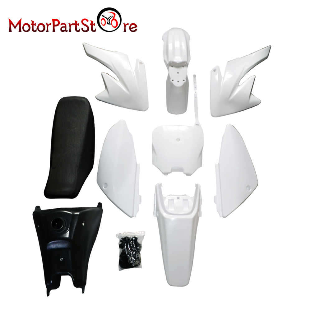 цена на Plastic Body Fender Shell Cover Fairing Seat Fuel Petrol Tank Kit for Honda CRF70 CRF 70 Motorcycle Pocket Pit Dirt Bike Part@15