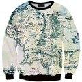 Новая Мода Властелин Колец Толстовка Шелковый Путь Harajuku Кофты Карта Мира Печатных Толстовка Женщины Пуловер Топы Толстовка