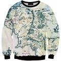New Fashion The Lord Of the Rings Sweatshirt Silk Road Harajuku Sweatshirts World Map Printed Hoodie Women Pullover Tops Hoody