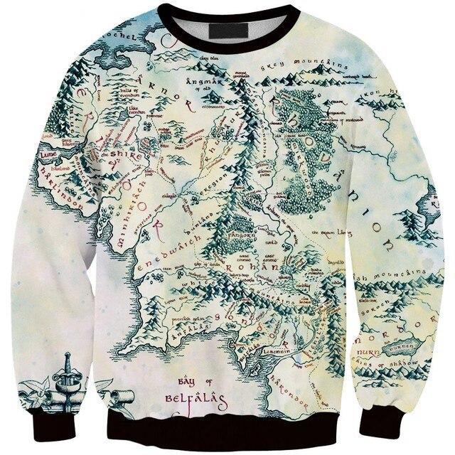 Map Of Rings The Silk Fashion Printed Sweatshirts New Harajuku Lord Road World Hoodie Sweatshirt fxPF1q
