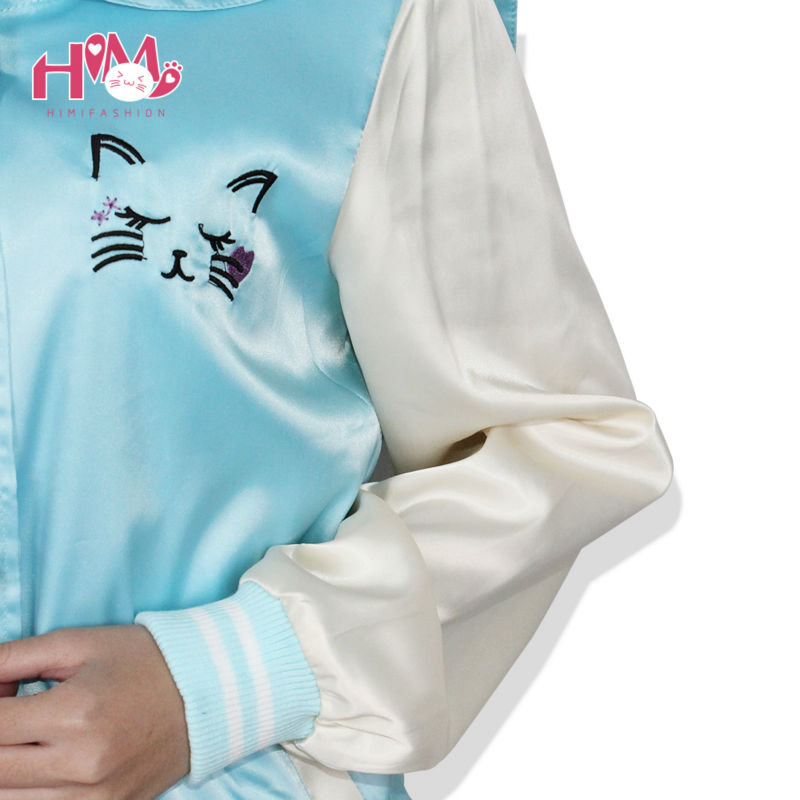 New Fashion Ladies Sky Blue All-match Cat Embroidery Thin Coat Female Loose Pink Autumn Spring Jacket Women Sailor Collar  4