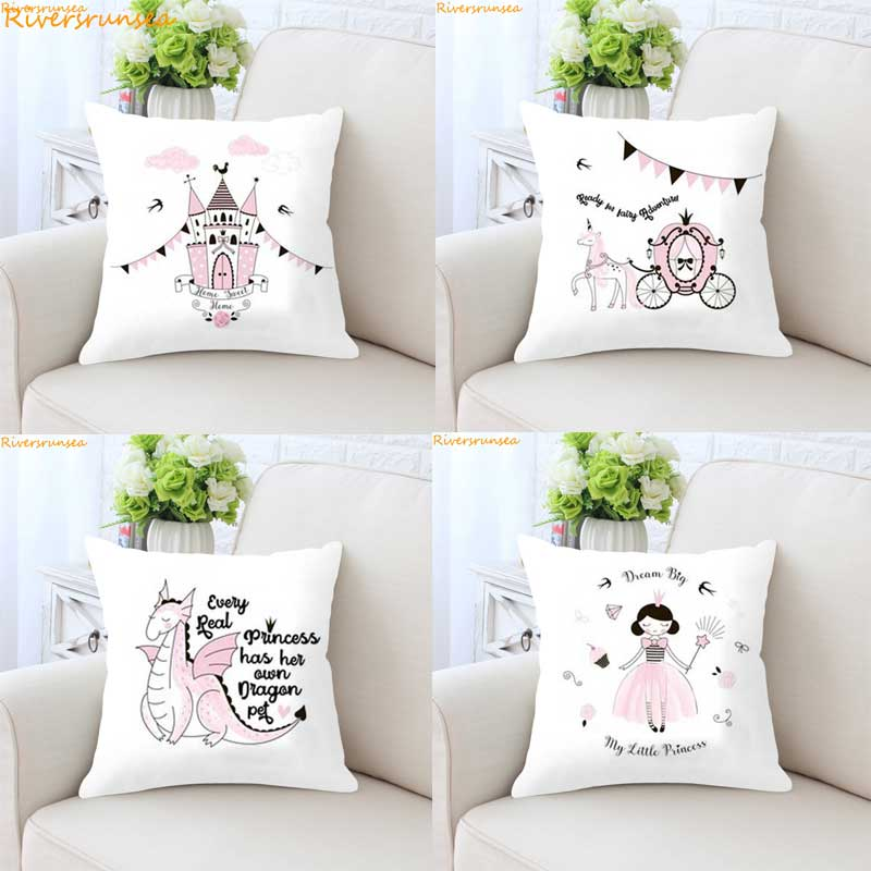 Castle Princess Pink Girls Cute Children Kinderen Meisjes Kussen Decoratie Kids Gifts Dream Cushion  Almofada Decorative Pillows