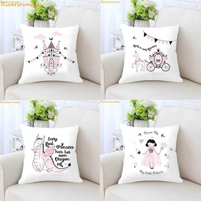 Castle Princess Pink Girls Cute Children Kinderen Meisjes Kussen Decoratie Kids Gifts Dream Cushion  Almofada Decorative Pillows