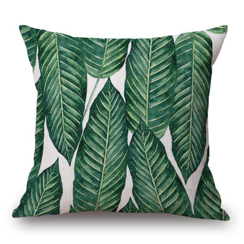 Wholesale 100% New Pillowcase Green Leaf Pillow Case For Study Office Chair Lumbar Pillow Case Green