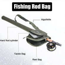 1pcs Fishing Fly Rod Bag For (Rod Reel Tackles) Canvas Portable 82cm Black/Army Green Tackles