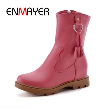 ENMAYER FEMALE 2018 Autumn Winter women round toe ankle boots lady basic flat with slip-on boots Big size 34-43 ZYL326 round toe basic slip on suede flat ankle boots nubuck casual pleated khaki grayness comfortable women autumn winter shoes